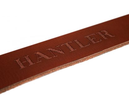The Hantlers leather engraving copper washing on cognac personalized