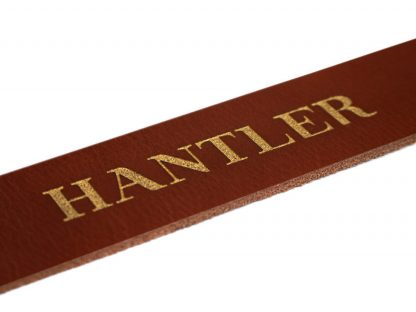 The Hantlers leather engraving gold washing on cognac personalized