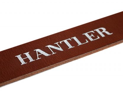 The Hantlers leather engraving white washing on cognac personalized
