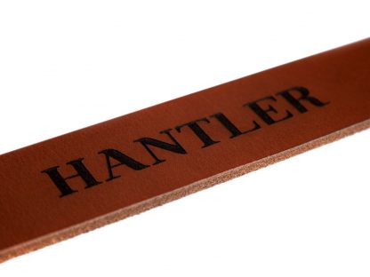The Hantlers leather engraving natural color black on cognac personalized