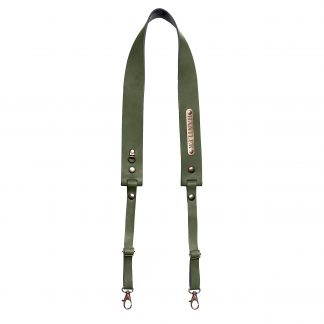 The Hantler's handmade green leather neck strap wich can be personalized with your own name on the metal tag.