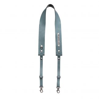 The Hantler's handmade blue leather neck strap wich can be personalized with your own name on the metal tag.